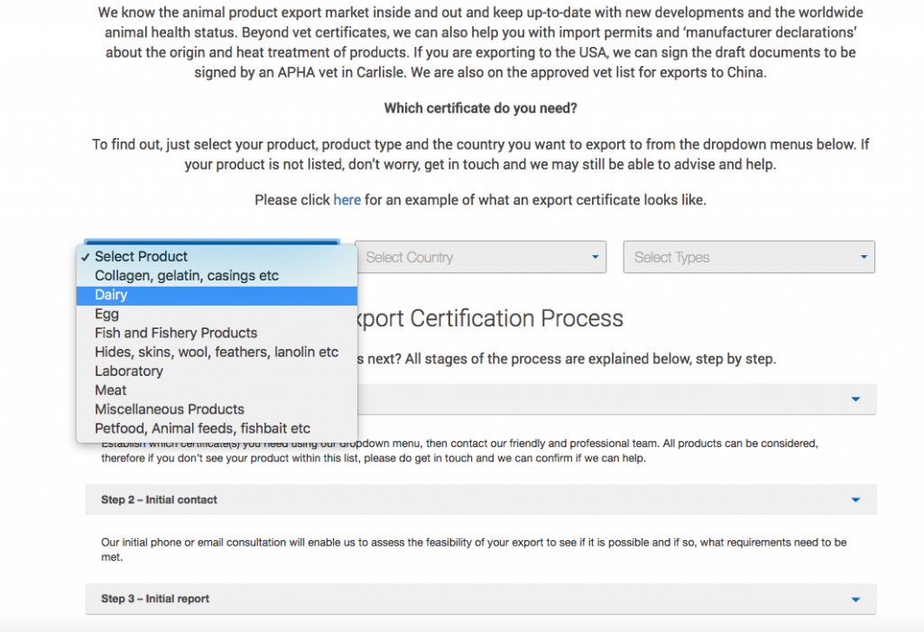 Export Health Certificates for Meat, Dairy and Food Products